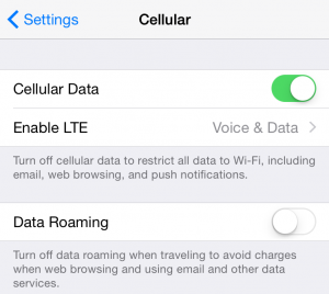 Check Your Mobile Phone Data Roaming