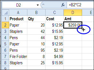Double click to copy down a formula