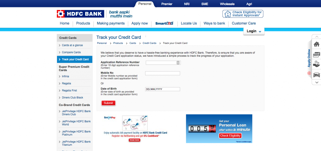 Hdfc forex card application