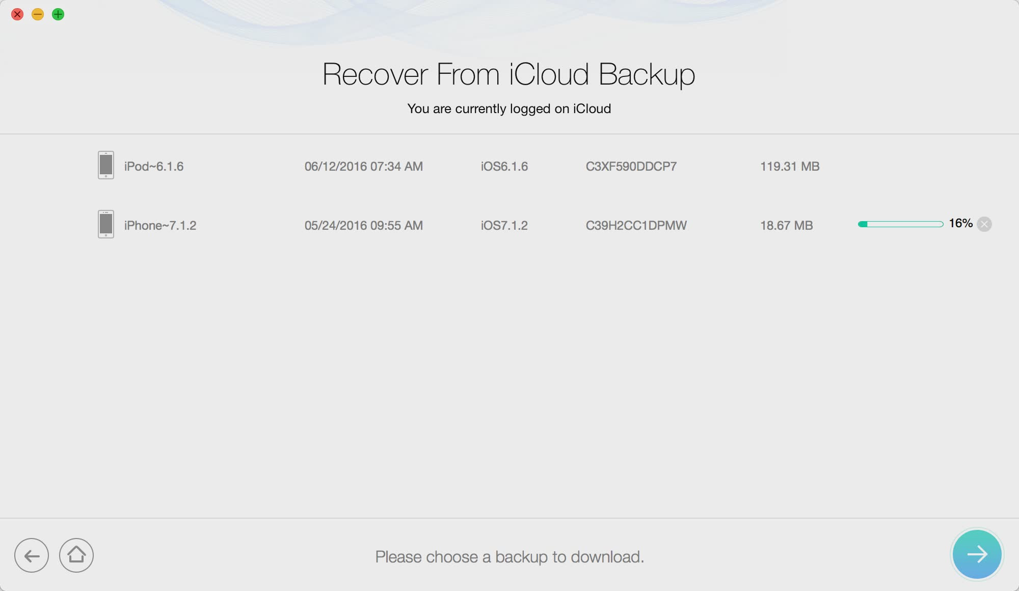 iMobile PhoneRescue Recover from iCloud Backup