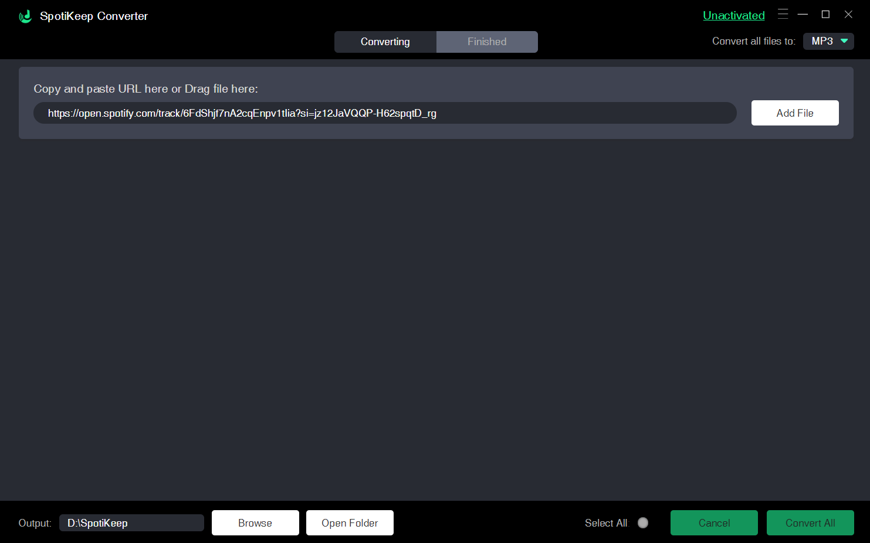 SpotiKeep Spotify to MP3 Converter Add File