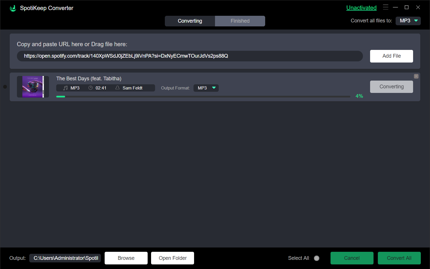 SpotiKeep Spotify to MP3 Converter Processing